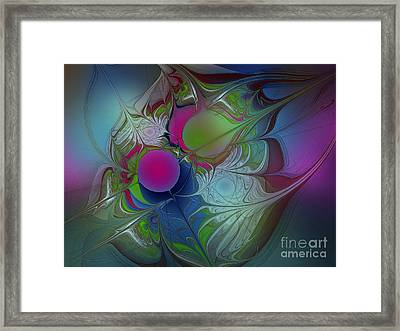 Framed Print featuring the digital art Pink Ping Pong Ball by Karin Kuhlmann