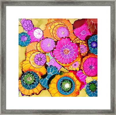 Pink Pinwheel Flowers Framed Print by Suzanne Canner