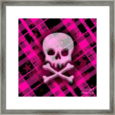 Pink Plaid Skull Framed Print