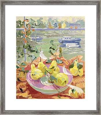 Pink Plate Of Pears Framed Print by Elizabeth Jane Lloyd
