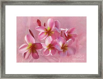 Framed Print featuring the photograph Pink Plumeria Pastel By Kaye Menner by Kaye Menner