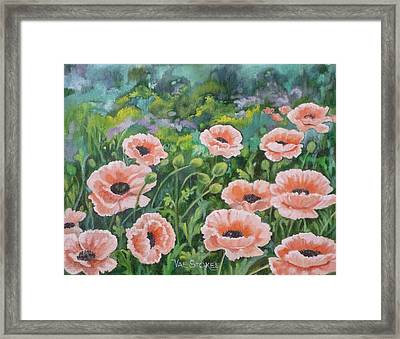 Pink Poppies Framed Print by Val Stokes