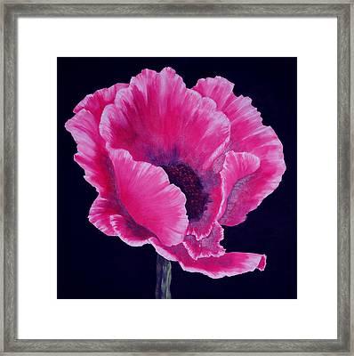 Pink Poppy Framed Print by SueEllen Cowan