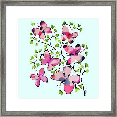Pink Profusion Butterflies Framed Print