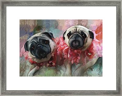 Pink Pug Princesses On Parade Framed Print by Elizabeth Murphy