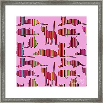 Framed Print featuring the mixed media Pink Pussy Cat by Carla Bank