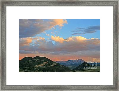 Framed Print featuring the photograph Pink Rain Over The Sleeping Indian by Paula Guttilla