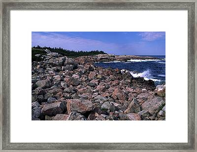 Pink Rock Shoreline Framed Print by Sally Weigand