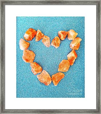 Pink Rocks Heart Framed Print
