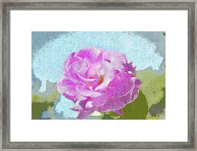 Pink Rose Against Blue Sky IIi Artistic Framed Print by Linda Brody