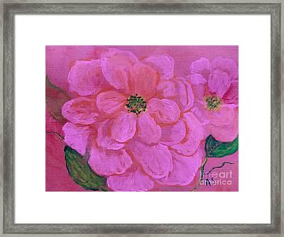 Pink Rose Flowers Framed Print
