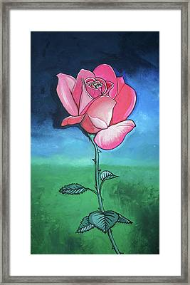 Framed Print featuring the painting Pink Rose by Mary Ellen Frazee
