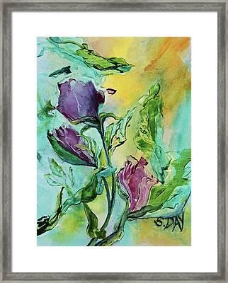 Pink Rosebuds Framed Print