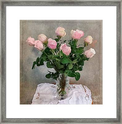 Framed Print featuring the digital art Pink Roses by Alexis Rotella