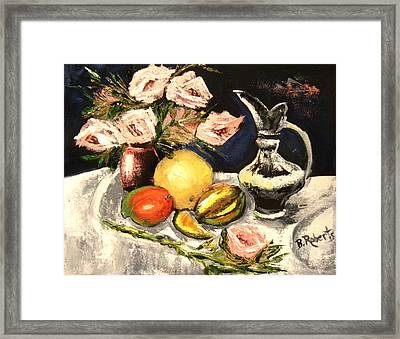 Pink Roses And Fruits Framed Print by Bobbie Roberts