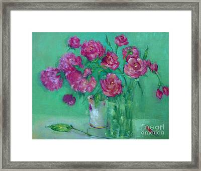 Pink Roses And Peonies         Copyrighted Framed Print by Kathleen Hoekstra