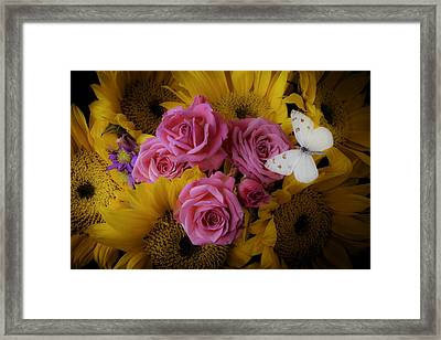 Pink Roses And Sunflowers Framed Print by Garry Gay