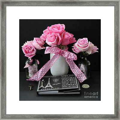 Pink Roses French Decor - Pink And Black Parisian Wall Art - Pink Roses French Home Decor Framed Print