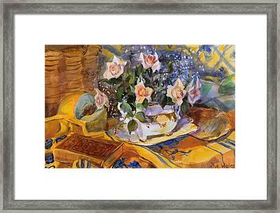 Pink Roses In Gaye's Dish Framed Print