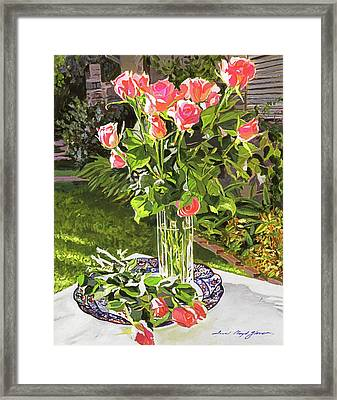 Pink Roses In Glass Framed Print by David Lloyd Glover