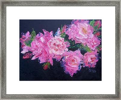 Pink Roses Oil Painting Framed Print