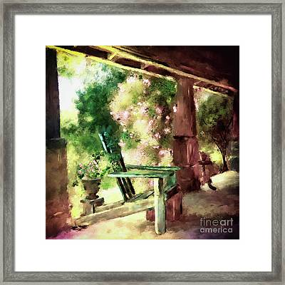 Framed Print featuring the digital art Pink Roses On The Porch by Lois Bryan