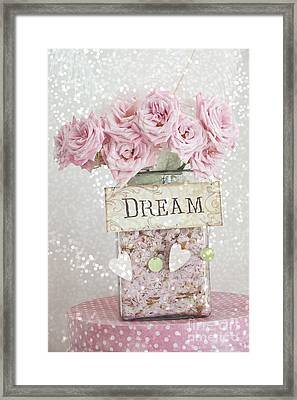 Shabby Chic Dreamy Pink Roses - Cottage Chic Pink Romantic Roses In Jar  - Dream Roses Framed Print by Kathy Fornal