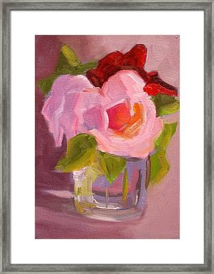 Pink Roses Still Life Painting Framed Print by Nancy Merkle