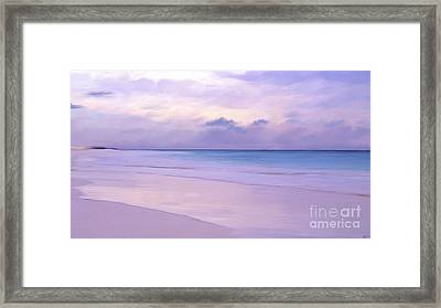 Pink Sand Purple Clouds Beach Framed Print
