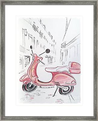 Pink Scooter Framed Print by Barbara Chase
