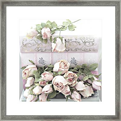 Framed Print featuring the photograph Pink Shabby Chic Roses On Pink Cottage Books - Shabby Cottage Pink Roses Home Decor by Kathy Fornal