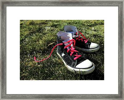 Pink Shoe Laces Framed Print