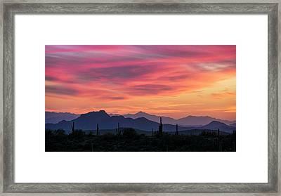 Framed Print featuring the photograph Pink Silhouette Sunset  by Saija Lehtonen