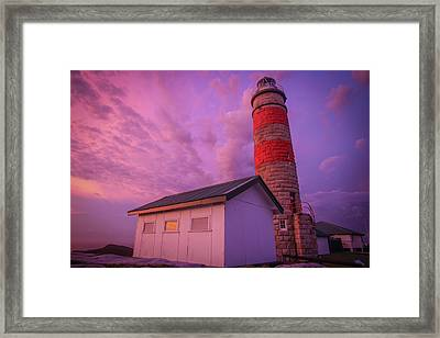 Pink Skies At Cape Moreton Lighthouse Framed Print