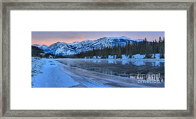 Pink Skies Over The Athabasca River Framed Print