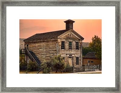 Pink Skies Over The Bannack School House Framed Print