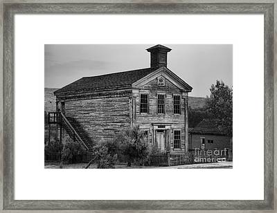Pink Skies Over The Bannack School House Black And White Framed Print