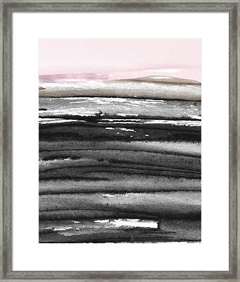 Framed Print featuring the mixed media Pink Sky Horizon- Art By Linda Woods by Linda Woods