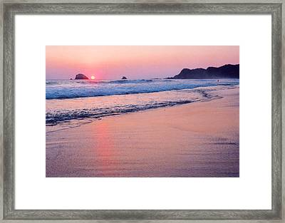 Pink Sky In Zipolite Framed Print by Lyle Crump