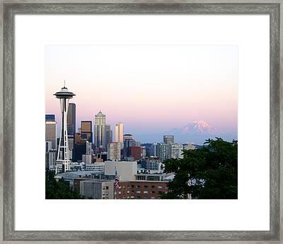 Pink Sky Over Mount Rainier Framed Print by Sonja Anderson