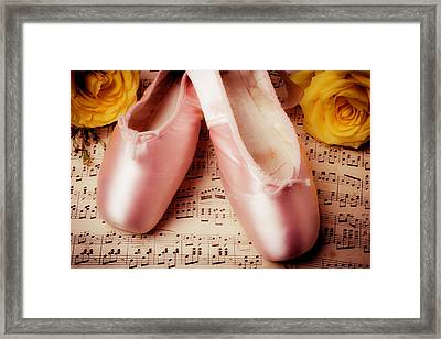 Pink Slippers And Roses Framed Print by Garry Gay