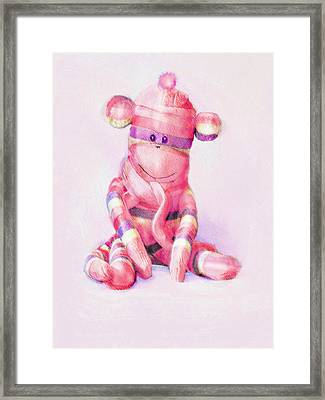 Framed Print featuring the digital art Pink Sock Monkey by Jane Schnetlage