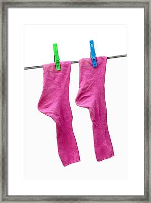 Pink Socks Framed Print by Frank Tschakert