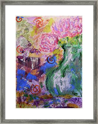 Pink Spider Mums Framed Print by Lisa McKinney