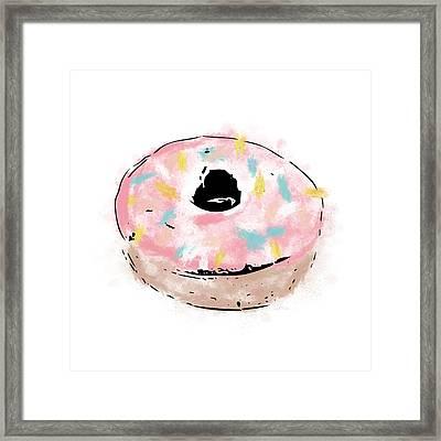 Pink Sprinkle Donut- Art By Linda Woods Framed Print