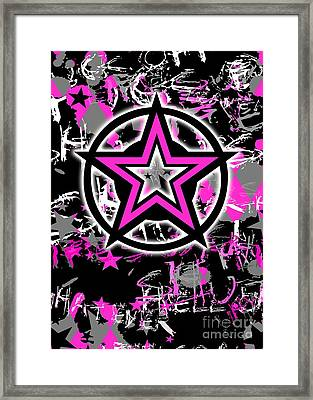 Pink Star Graphic Framed Print
