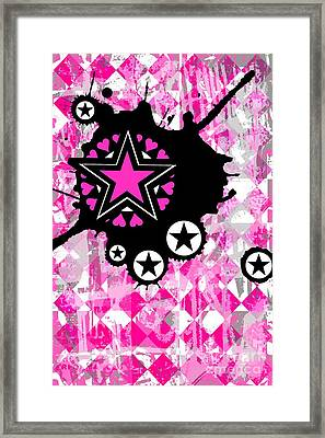 Pink Star Splatter Framed Print
