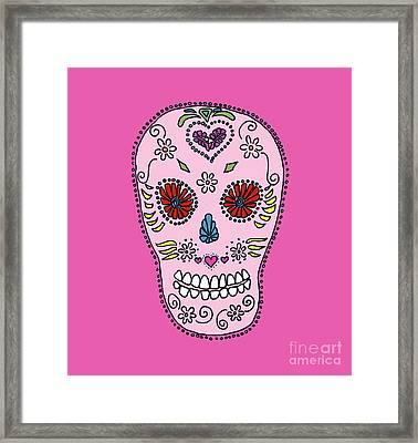 Pink Sugar Skull Framed Print