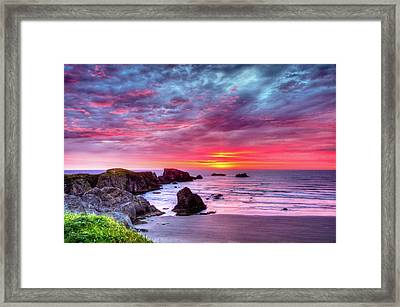 Pink Sunset Bandon Oregon Framed Print by Connie Cooper-Edwards