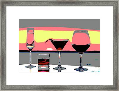 Pink Sunset Drinks Framed Print